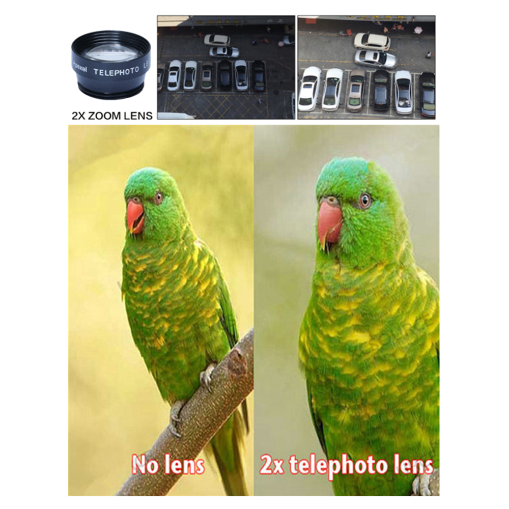 APEXEL APL-DG7 7 in 1 Cell Phone Camera Lens Kit Universal Clip 0.36X Wide Angle Macro Fisheye Telephoto Lens