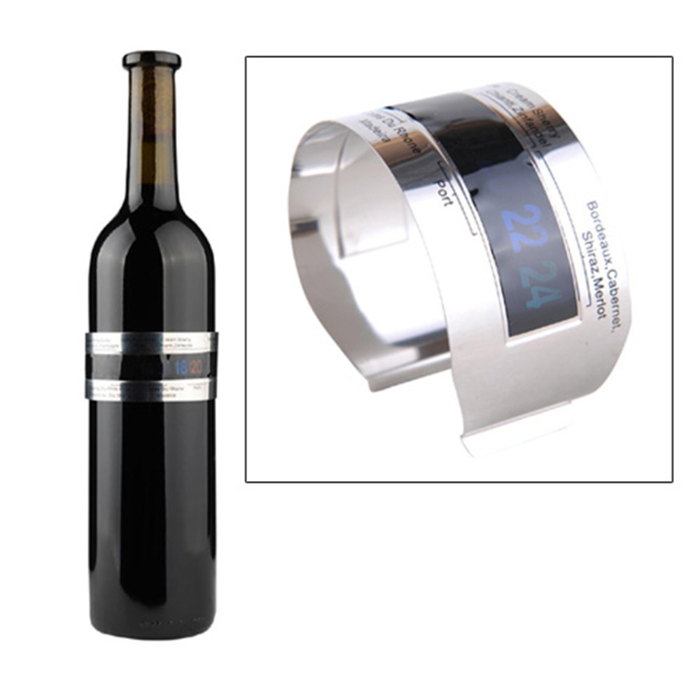 Hoard Stainless Steel Wine Bracelet Thermometer 4-26 Centigrade Degree Red Wine Temperature Sensor- Silver