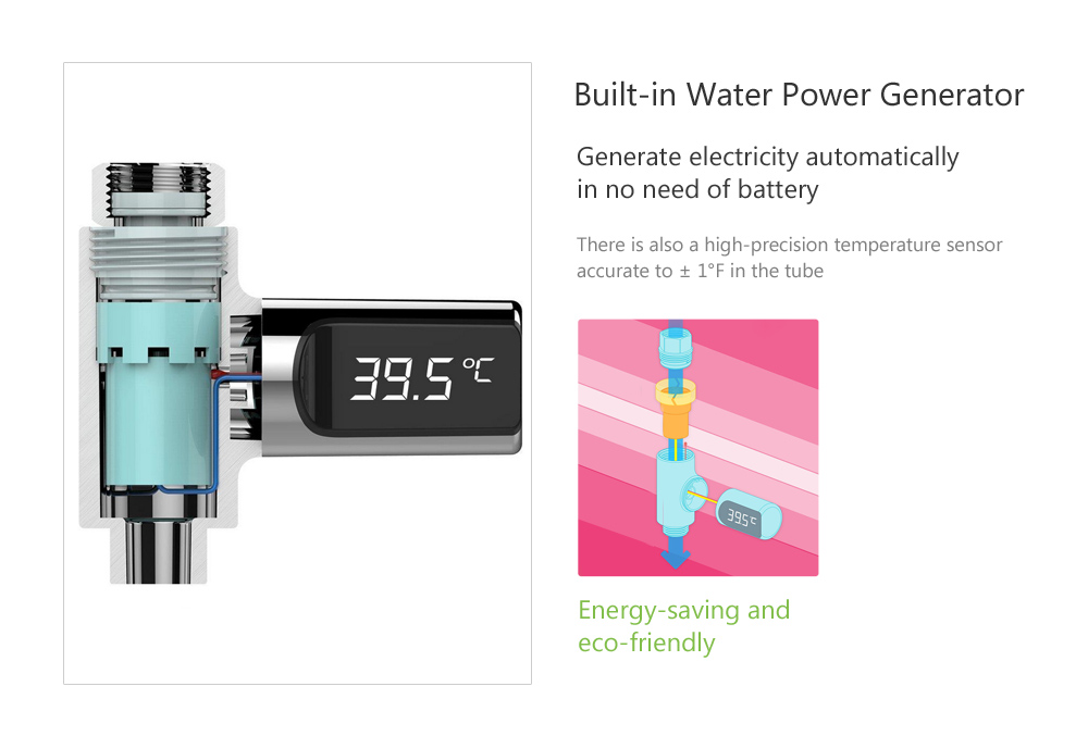 LED Display Water Shower Thermometer Faucet Self-Generating Electricity Water Temperature Monitor for Baby Care- Silver 1PC