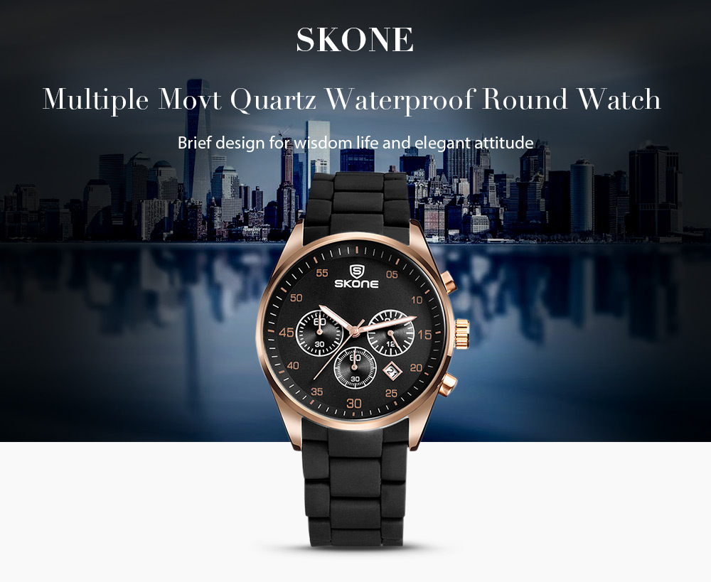 SKONE Quartz Waterproof Alloy Round Sports Watch for Men