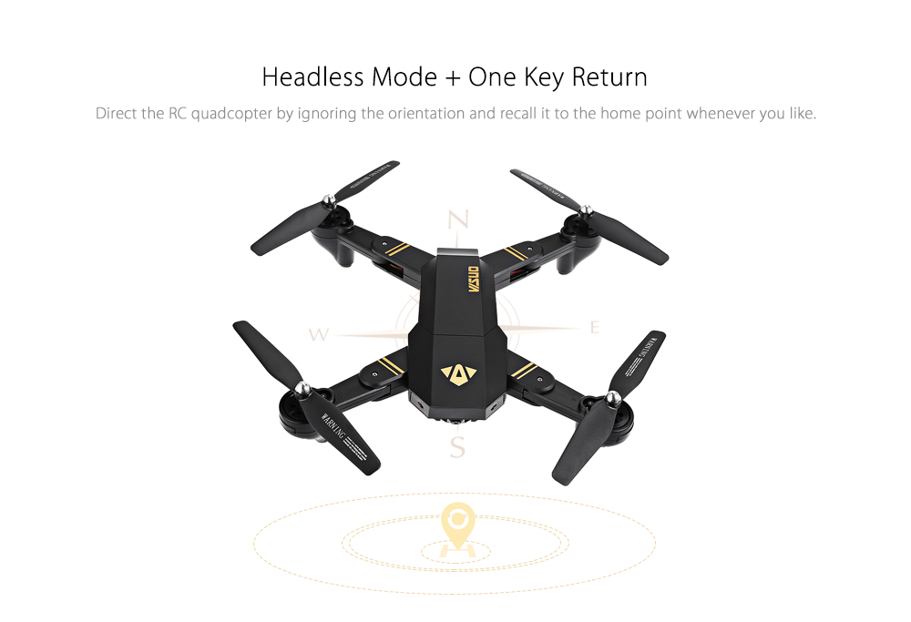 TIANQU VISUO XS809W Foldable RC Quadcopter RTF WiFi FPV / G-sensor Mode / One Key Return- Black 0.3MP Camera + Air Press Altitude Hold