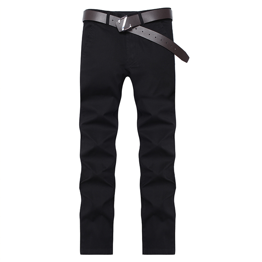 1611 Men'S Pants Slim Straight Casual Pants in The Waist Solid Color Casual Pants