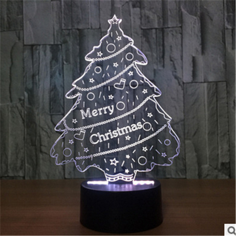 New 3D Lamp tree LED Effect Light 7 Colors Micro USB Or Aa Batteries Desk for Christmas
