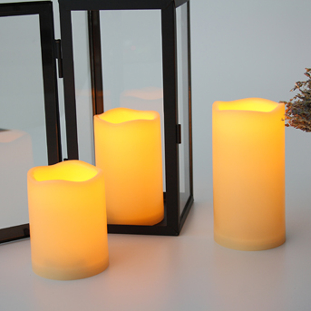 Set of 3pcs Outdoor and Waterproof Flameless Candles with Remote and Timer- Ivory Yellow 3PCS