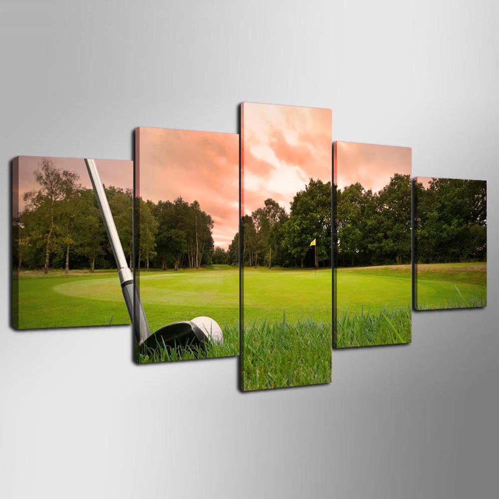 YSDAFEN Home Decor Wall Art HD Golf Canvas For Living Room 5 Piece