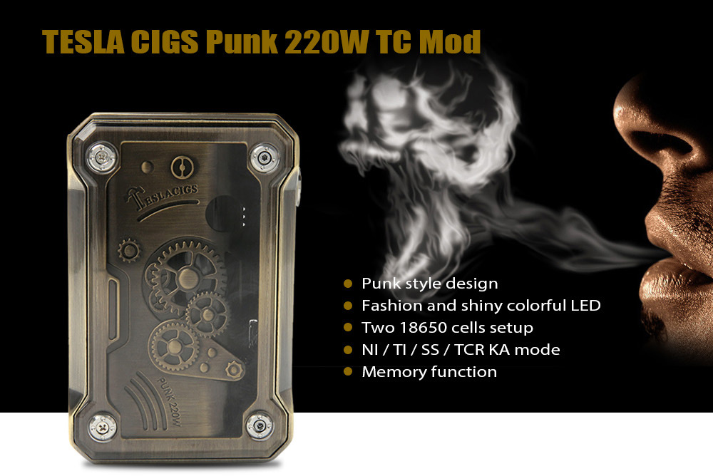 TESLA CIGS Punk TC Mod 220W / 100 - 300C / Supporting 2pcs 18650 Batteries for E Cigarette
