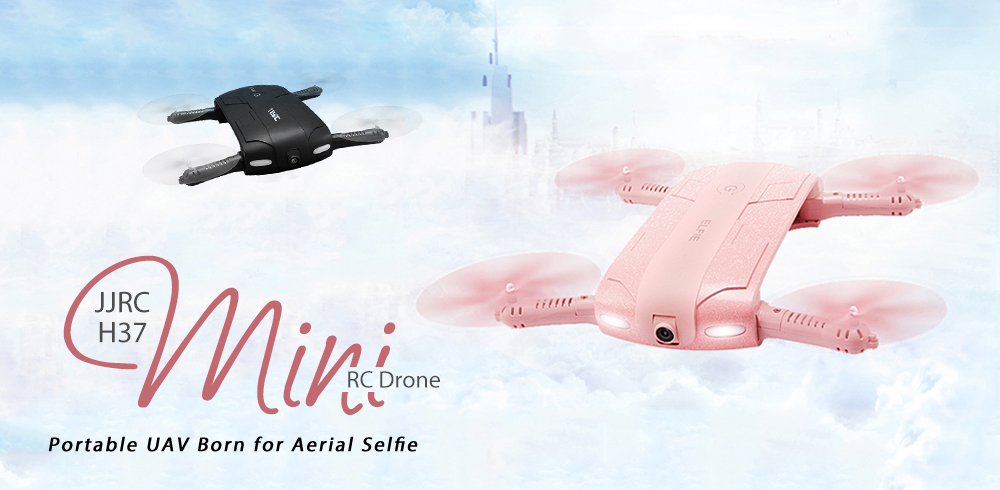 JJRC H37 ELFIE Foldable Mini RC Selfie Quadcopter WiFi FPV / 720P HD / G-sensor / Headless Mode- Black with One Battery