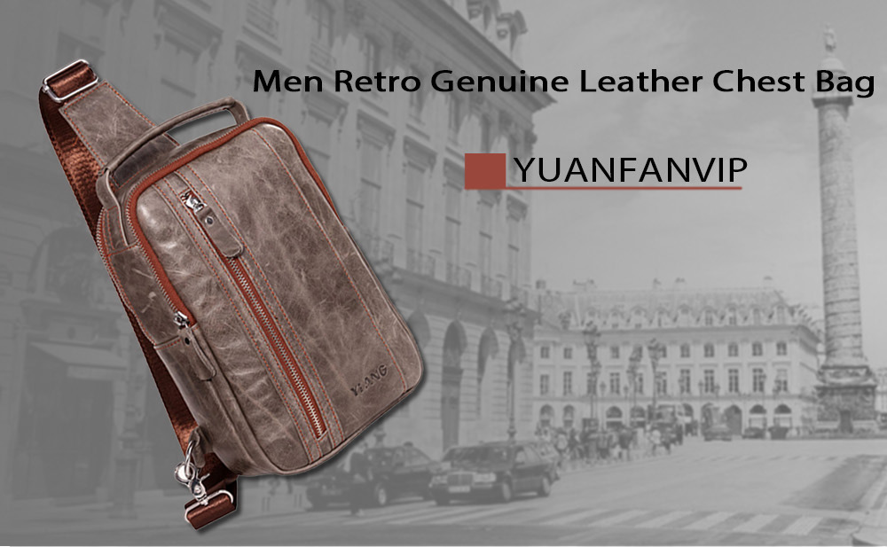 YUANFANVIP Retro Genuine Leather Chest Bag for Men