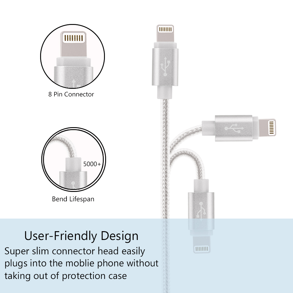 For iPhone Charger  (2x 3.3ft) 2Pack Premium Lightning to USB Cable 8 Pin Nylon Braided Charging Cable