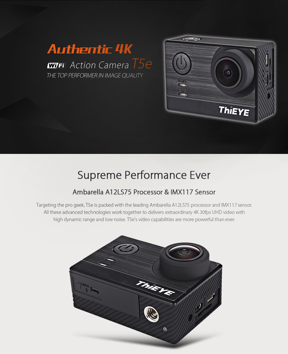 Thieye T5e Wifi 4k 30fps Sport Camera 16mp 14419 Free Shipping X Pro 6s Action 12 Mp Package Contents 1 Multi Language User Manual Wiper Usb Cable Pack Of Accessories Waterproof Case1