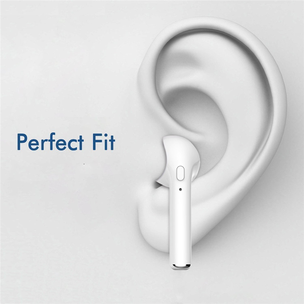 Bluetooth Earbud Mini Wireless Headset In-Ear Earphone Earpiece for iPhone 7 single le- White