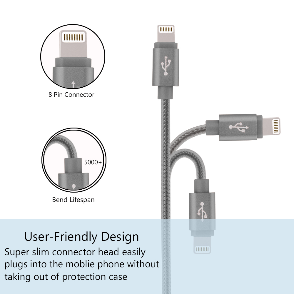 For iPhone Charger  2x 3.3ft Premium Lightning to USB Cable 8 Pin Nylon Braided Charging Cable