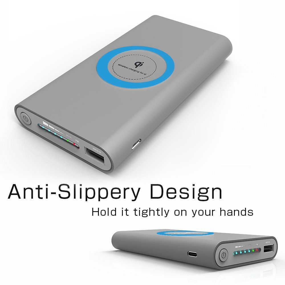 Qi Power Bank Cell Phone Portable Battery Pack Charger 10000mAh and Wireless Charger External Battery