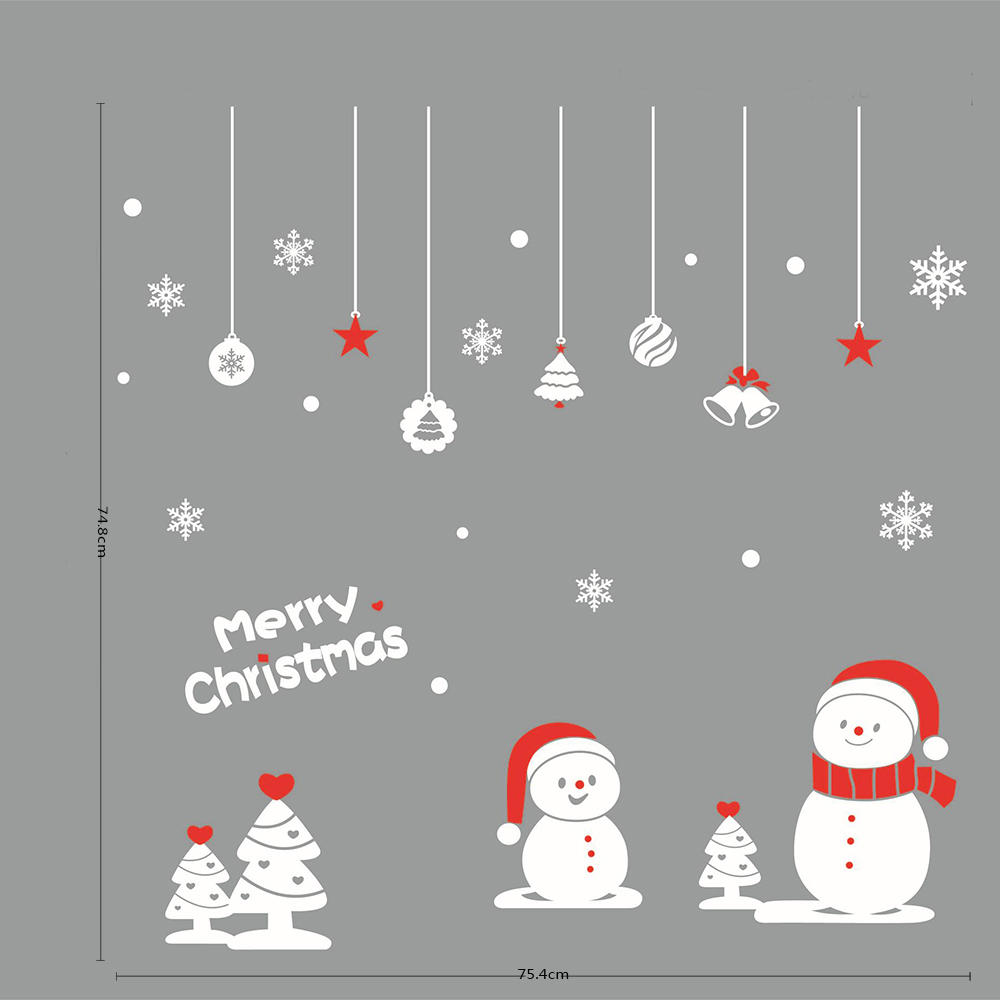 AWOO m - 64 Environmental Christmas Subject Little Snowman Wall Sticker Home Decoration