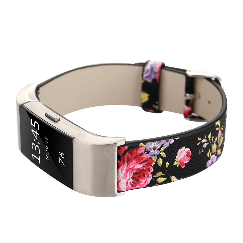 Lowers Pattern Genuine Leather Replacement Band Wristband Bracelet Strap  Fitbit Charge 2 Band