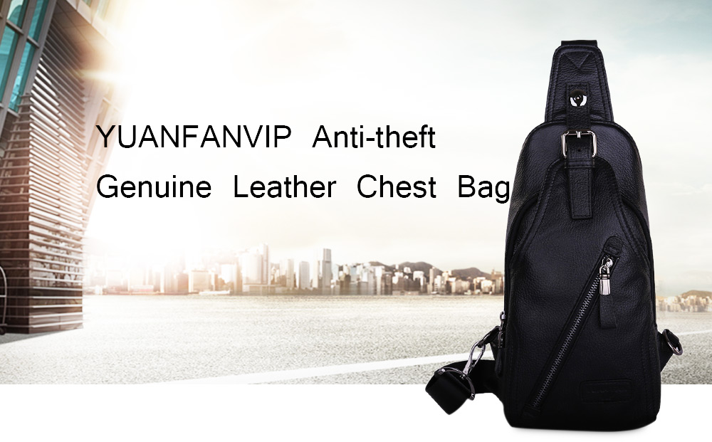 YUANFANVIP Genuine Leather Anti-theft Chest Bag for Men