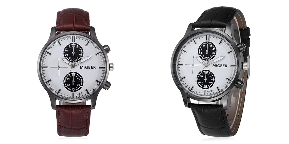 MIGEER 2027 Trendy Leather Band Men Quartz Watch