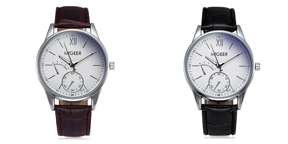MIGEER 314 Casual Trendy Leather Band Men Quartz Watch