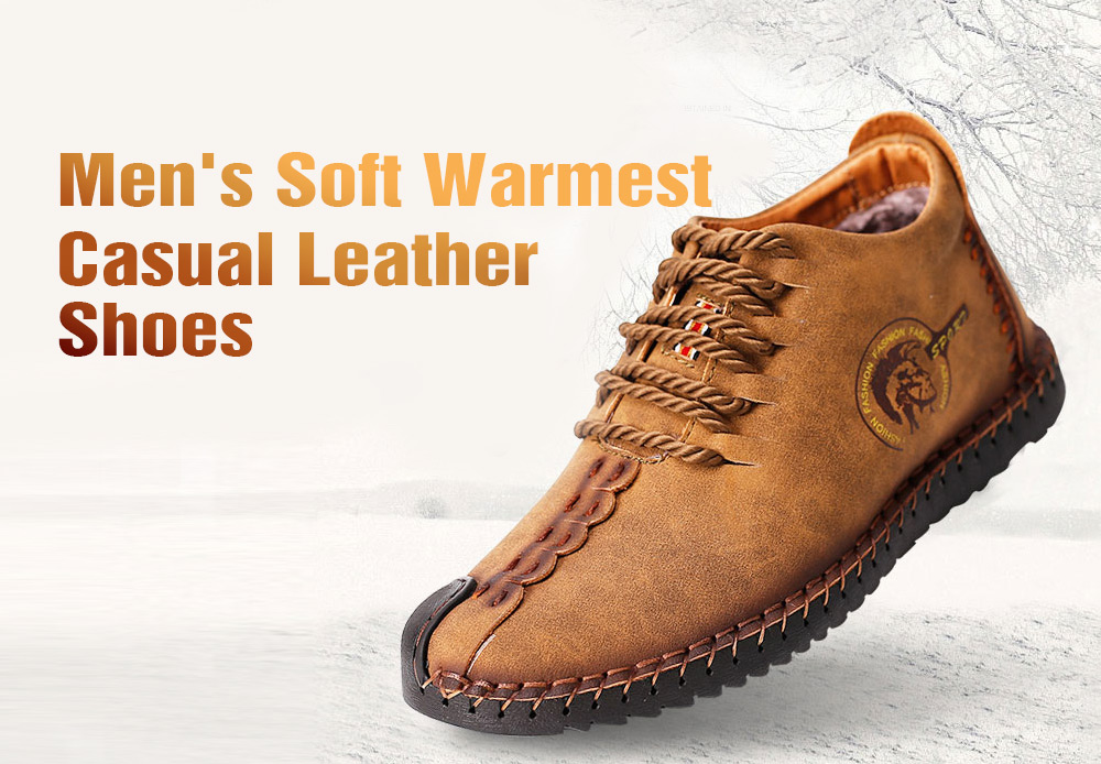 Versatile Soft Warmest Stitching Casual Leather Shoes for Men