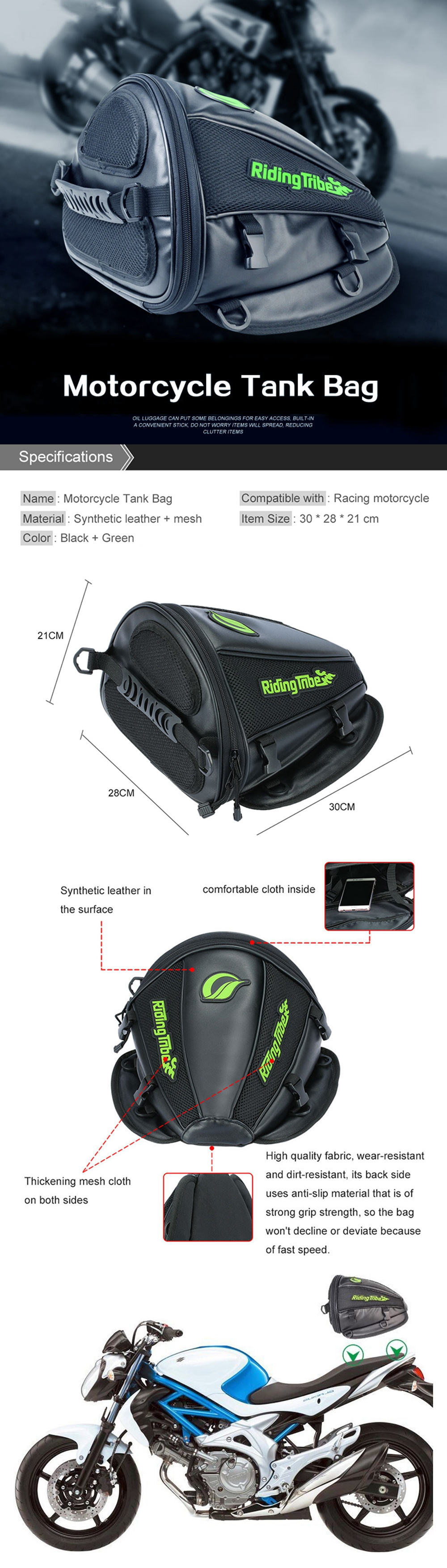 Riding Tribe Leather Saddle Bags Motorcycle Bag Waterproof Moto Tank ...