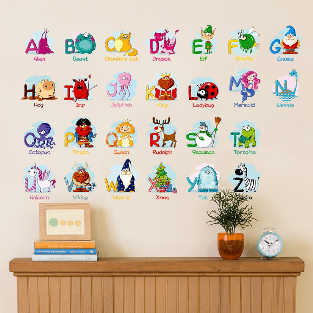 6221 Baby Nursery Wall Sticker Puzzle Educational Learning Animal English Letters- Mixed Color 70 x 45 cm