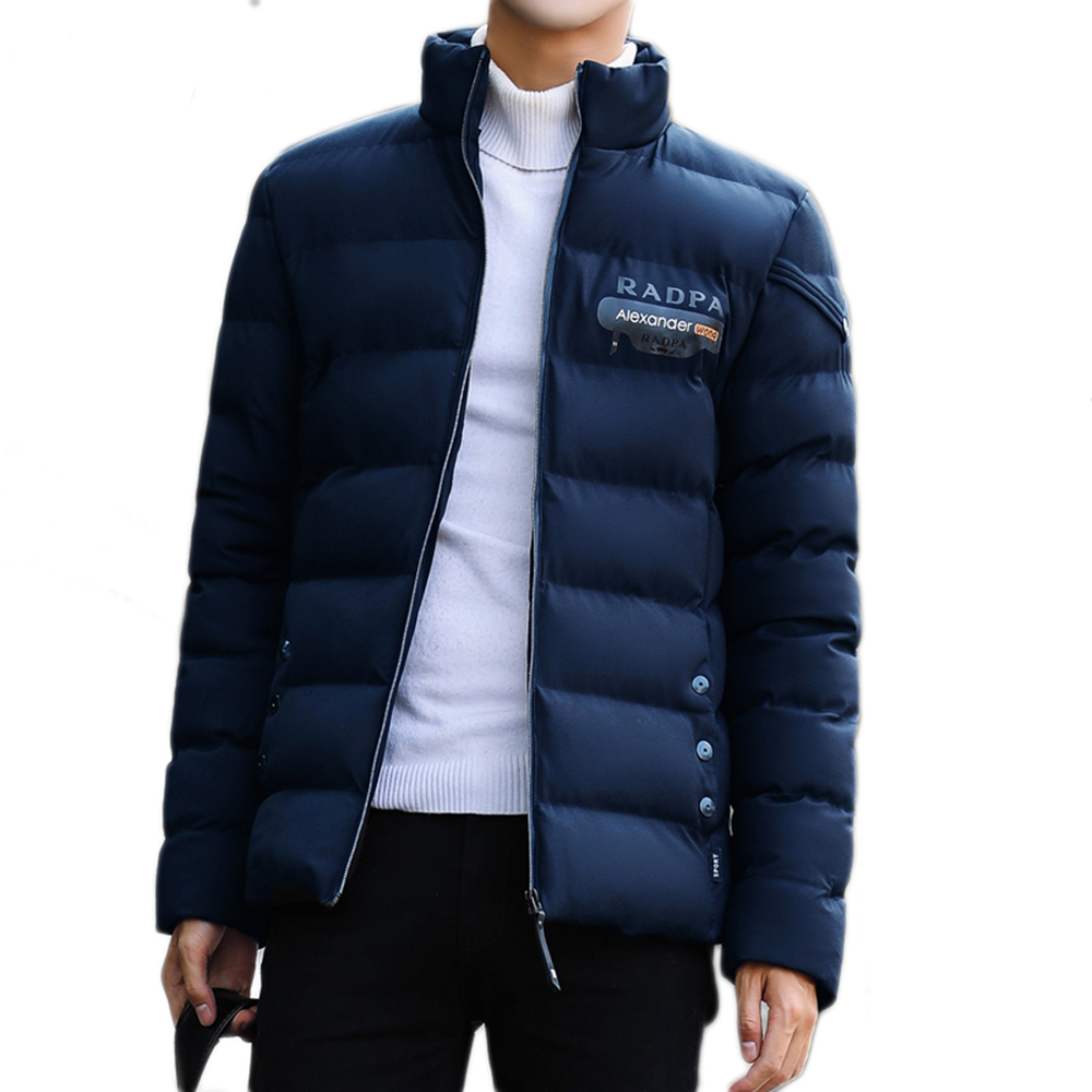 New Hot 2017 Autumnwinter Coat Men Black Puffer Jacket Warm Fashion Casual Parka Down Hooded Padded Zipper Overcoat Outwear Cotton