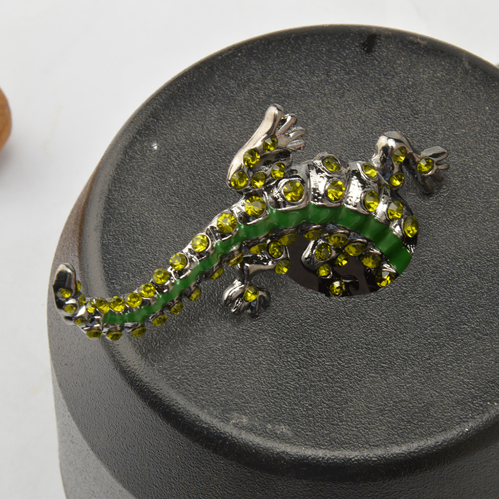 Vintage Green Rhinestone Pin Crystal Crocodile Brooches For Men Jewelry