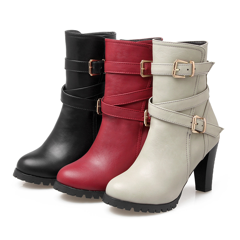 Miss Shoes 98-3 Thick and Buckled Boots