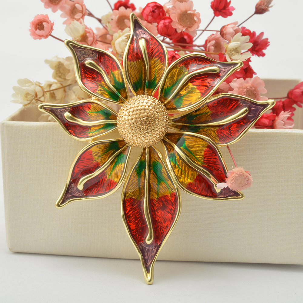 Crystal Flower Brooch Lapel Pin Fashion  Jewelry Women Wedding Hijab Pins Large Brooches For Women