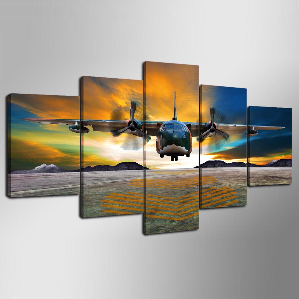 YSDAFEN Canvas Painting 5 Panels Airplane Wall Art Picture For Living Room