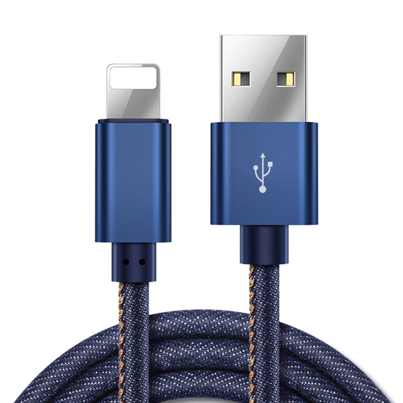 1 1M Aluminium Alloy Two - One Blind Plug Jeans Data Cable for iPhone and Android