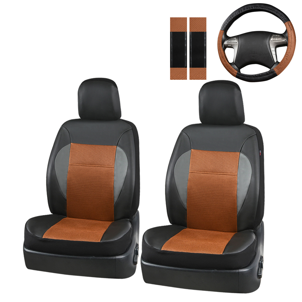 Car-pass  Universal Pu Leather Car Seat Cover with Steering Wheel Cover Shoulder Pad Cover