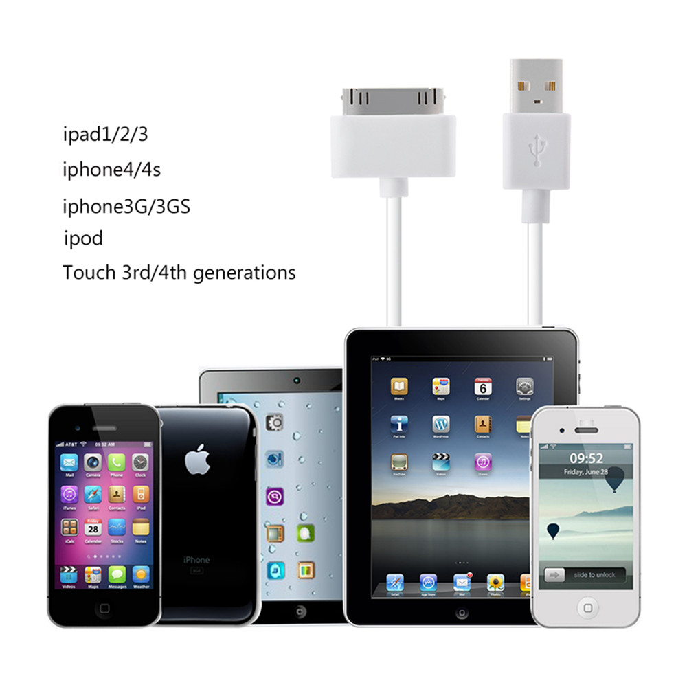 2pc 1M Sync and Charging Cable for iPhone 4 4S iPhone 3G 3GS iPad 1 2 3 iPod