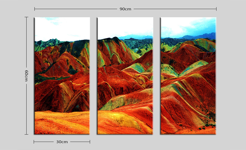 E - HOME Modern Grand Mountains Print Framed Canvas Decorative Wall Painting 3PCS