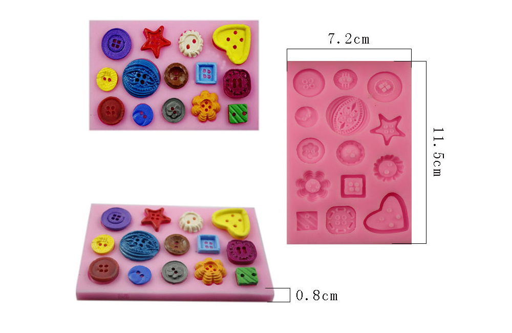 Cute Buttons Pattern Cake Candy Chocolate Mold Silicone Bakery Tool