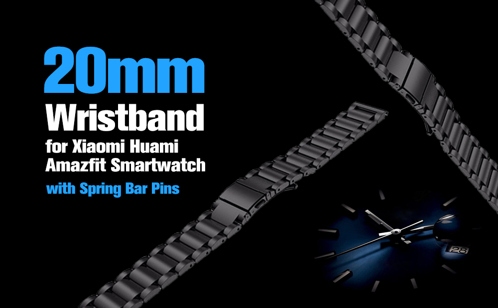 TAMISTER 20mm Stainless Steel Strap Replacement Watch Wristband for Xiaomi Huami Amazfit Smartwatch