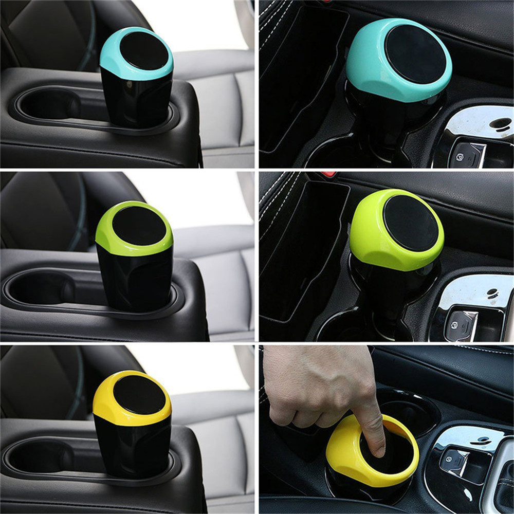 Car Auto Garbage Trash Can Automotive Waste Storage Mini- Blue