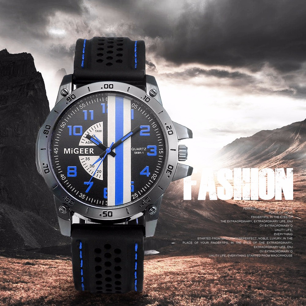 MIGEER 5699 Casual Trendy Leather Band Men Quartz Watch