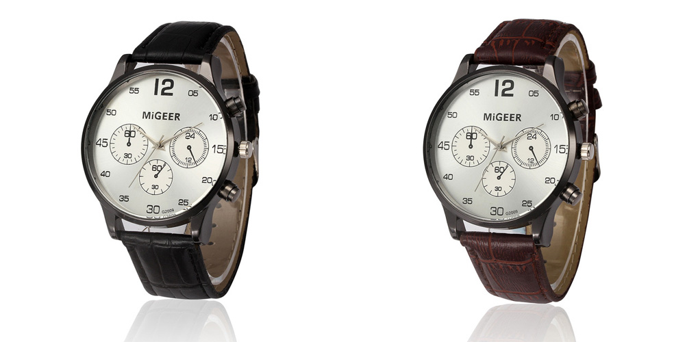 MIGEER 2009 Casual Trendy Leather Band Men Quartz Watch