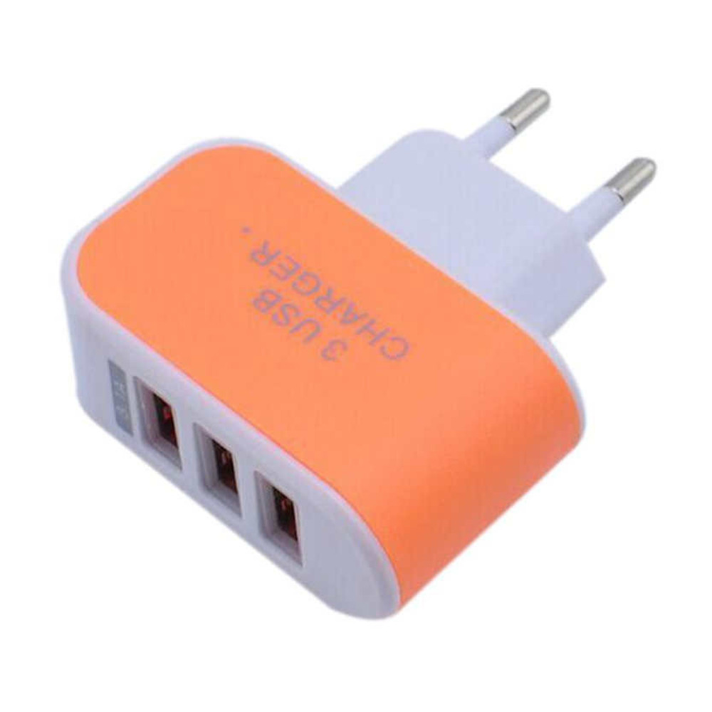 3USB Candy Charger LED Light Mobile Charging Head Smart Multi Port USB Charger Travel To The EU Standard