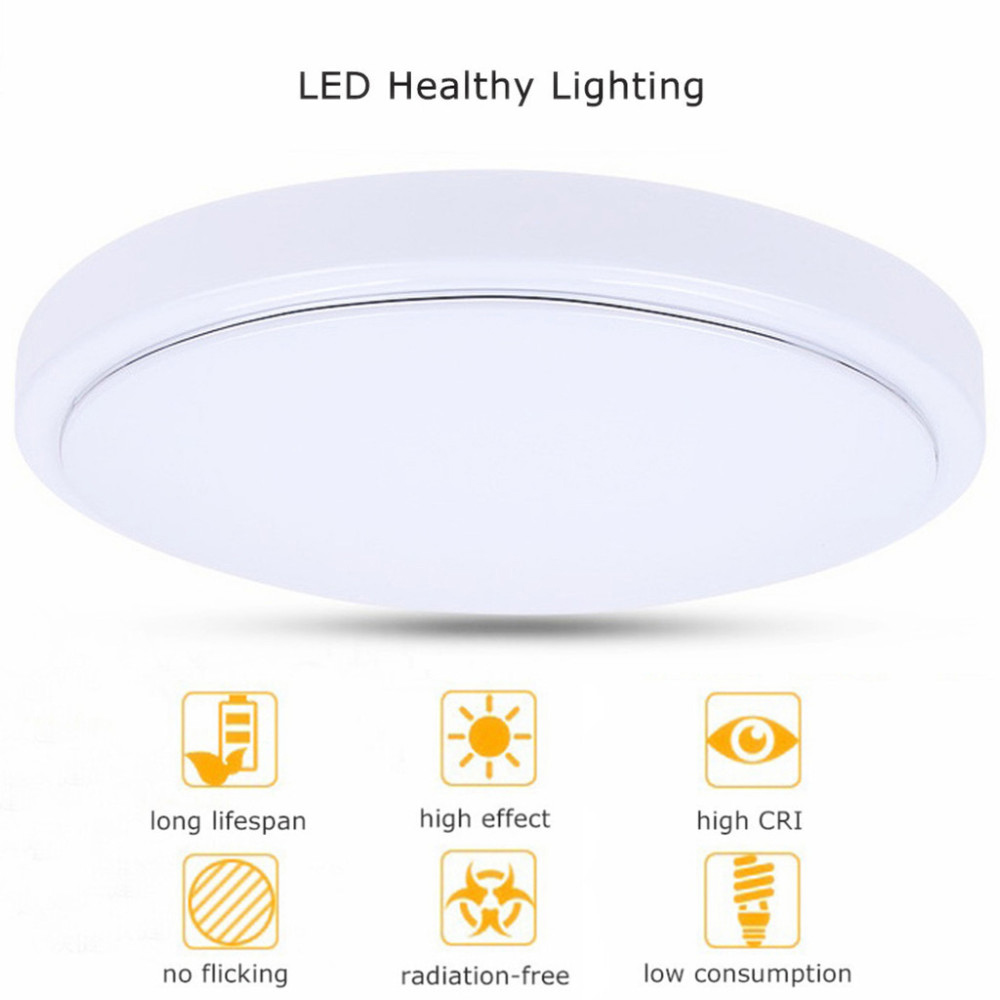 JIAWEN LED Ceiling Light with 2.4G RF Remote Controlled Dimmable Changing Color Temperature Lamp AC100 - 240V- White