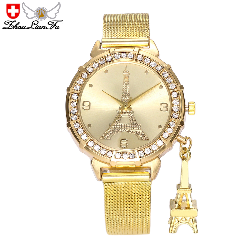 ZhouLianFa Casual Fashion Elegant Ladies Mesh Steel Belt Quartz Watch
