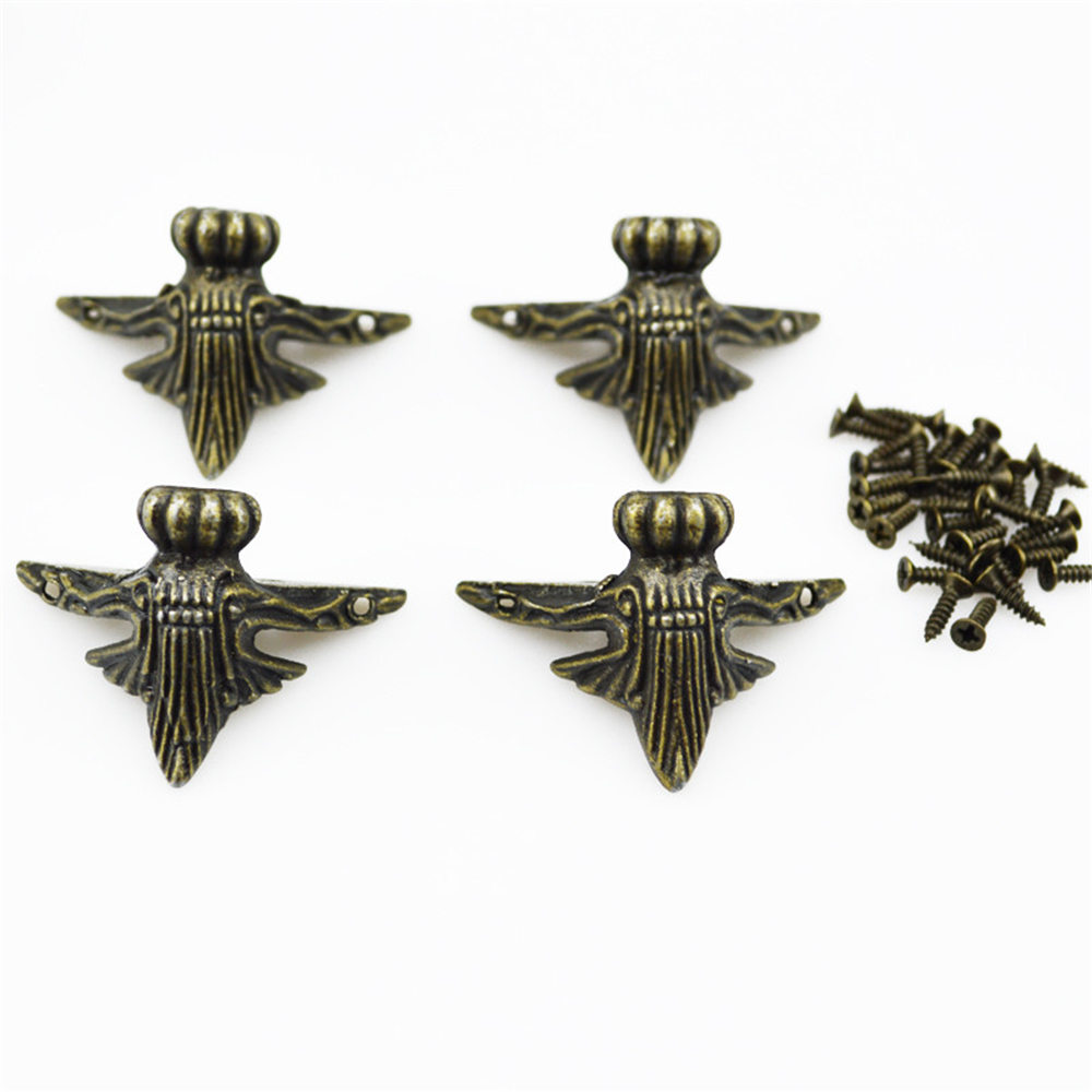 4PCS Zinc Alloy Antique Brass Jewelry Gift Box Wood Case Decorative Feet Leg Corner Protector 42x30mm- bronze 42mm x 30mm