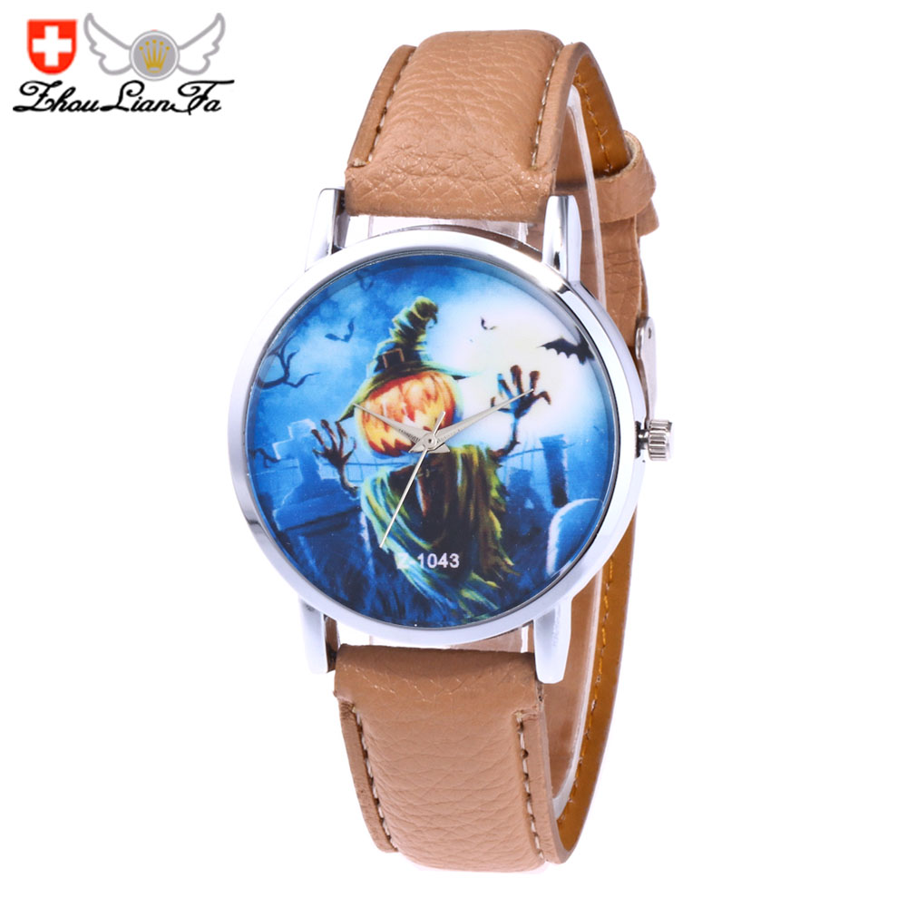 ZhouLianFa Ladies trendy leather strap casual cartoon quartz watch