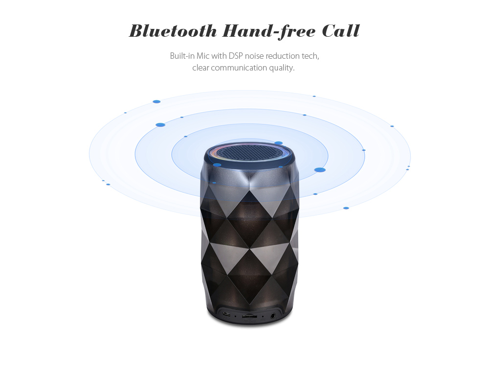 Bluetooth Speaker with Touch Control Colorful LED Lamp Build-in Mic TF Card AUX- Multi