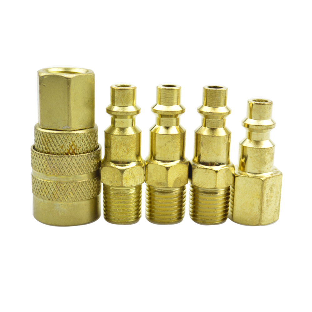 5 PIECE Solid Brass Quick Coupler Set Air Hose Connector Fittings 1//4 NPT Tools