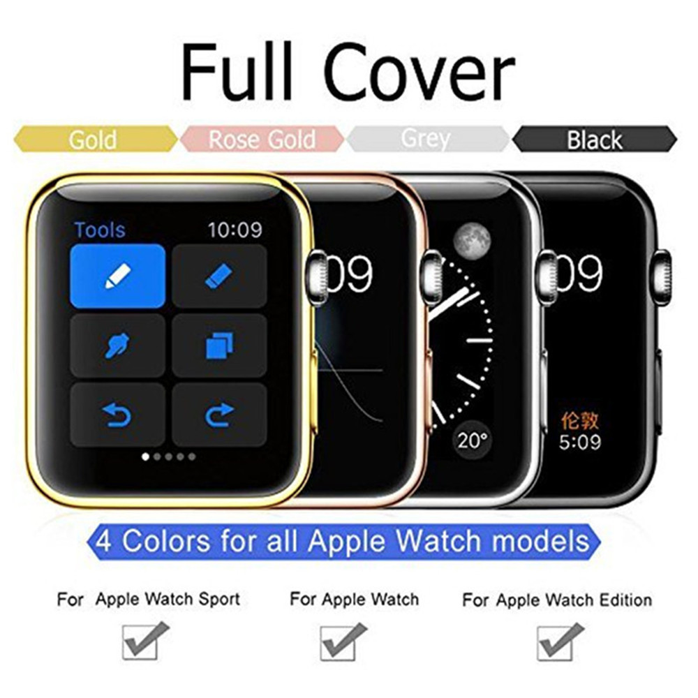 PC Clear Hard Snap On Case Cover Screen Protector For iWatch Series 2 38mm