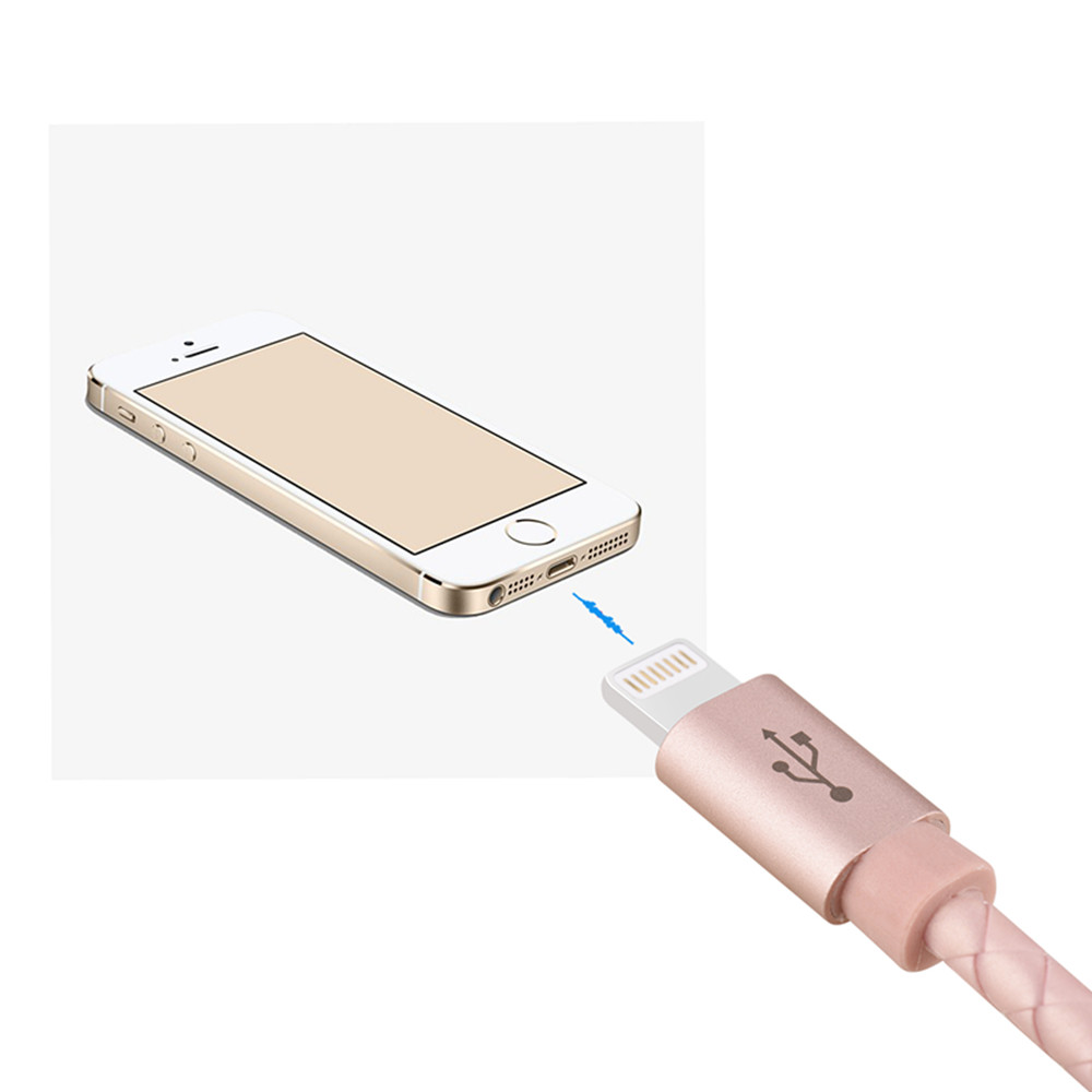 2PCS 1m for iPhone Charger Premium USB Cable 8 Pin Rose Gold PU Leather Braided Charging Cable