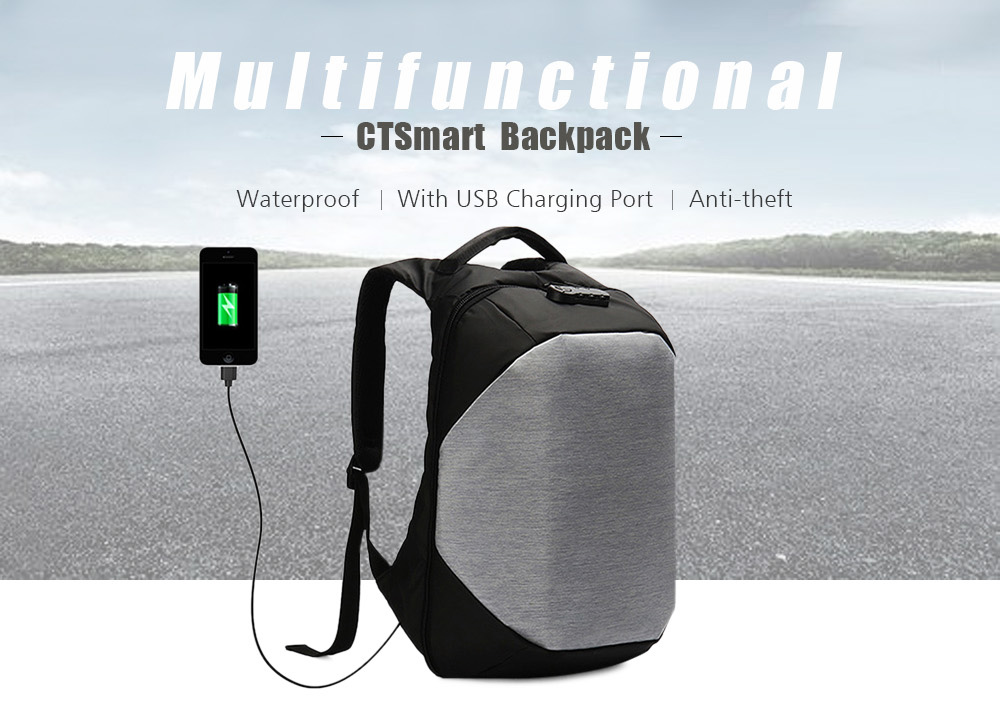 CTSmart Multifunctional Waterproof Anti-theft Backpack with USB Charging Port