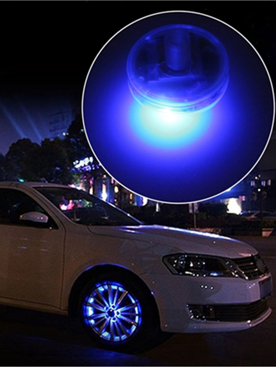 4PCS Car Light Solar Energy Auto Flash Discoloration LED Wheel Tire Hub